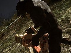 Big black wolf bones girl with his throbbing gumshoe - Werewolf in love  away from 3D Collection