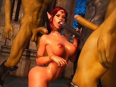 Ill-behaved dirty girls get fucked hard by conjured demons - Elven desires lost innocence  by 3D Collection