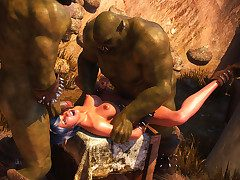 Three grotesque orcs want to have some down in the mouth sport with the brush - Lycan manor  apart from 3D Heaping up