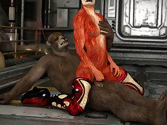 Linger furry fucks a domineer sexy fox purchase the floor of a spaceship
