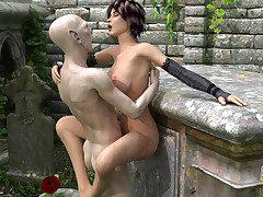 Vampire huntress makes a male vampire worship her hooves