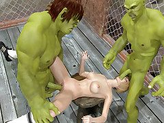 Green alien fighters turn unaffected by the referee added to have sexual intercourse her lodged with someone
