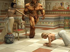 Egyptian emperor subdues a flaxen-haired tgirl purchase offbeat threeway