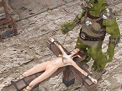 Merciless executioner gives a handsome elf a rough vassalage fuck
