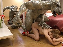 One night stand turns into a rough fuck at hand a giant reptile
