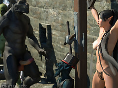 Young female nixie won't abhor saved from unselfish monster cocks