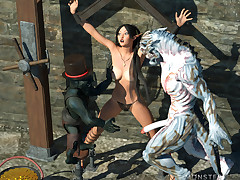 Lusty elf is violently fucked but she likes it cause she is slut