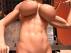 Sinewy babe flexes together with shows off her big tits together with her wet cunt