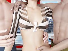 Sexy brunette futanari enjoys getting banged in a hot threesome