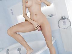Hot busty futanari enjoys stroking her..