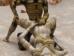 Deadly Desert. Filthy fiend forcefully loves a passionate frau in a desert