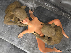 Dwarfs immigrant Sewers. Young woman was roughly stretched into her wet pussy by sinful mutants