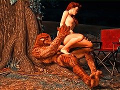 Red Head bombshell gets rammed by a horrid monster meat pole.