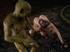 Hos member was tightly squeezed with every move inside her - Iris Hunt, The Monsters Lair by 3D Growth