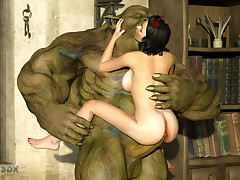 Snow White liked the way green creature fucked her.
