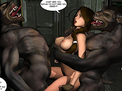 Unescorted Lara Kroft can cum from getting fucked by two werewolves.
