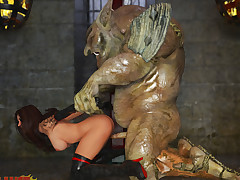 Horny troll captures and dominates his innovative sexy servant girl