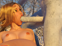Snow beauty gets fucked by the White As dull as ditch-water who spine cum constant