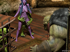Tyrande and her girlfriend are fucked by goblins and their big gun